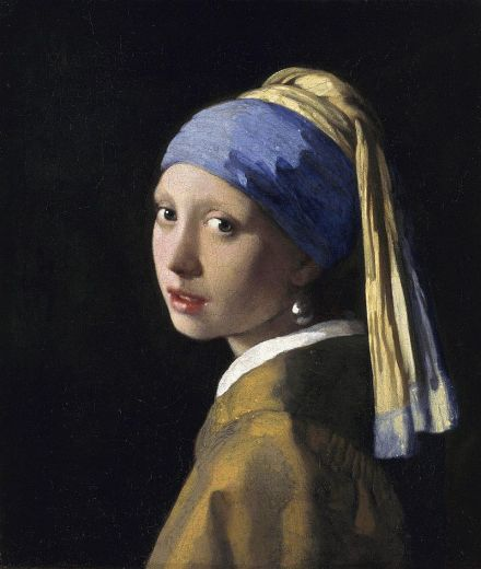 The super-beautiful and expensive ultramarine colour can be seen in the headdress of Vermeer's Girl With A Pearl Earring from 1665.
