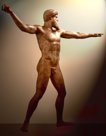 Artemision bronze, thought to be Poseidon or Zeus, in Athens Archeological Museum.