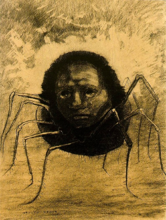 AAH KILL IT WITH FIRE!! ...uh, I mean Crying Spider (1881), one of Odilon Redon's