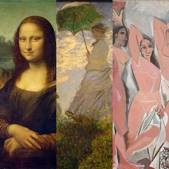 Three examples of images from the Western art history canon: the Mona Lisa by Leonardo da Vinci, Le Promenade by Claude Monet, and Les Demoiselles d'Avignon by Pablo Picasso. These paintings, artists, and movements (High Renaissance, Impressionism and Cubism, respectively) have all been extensively studied in art history.