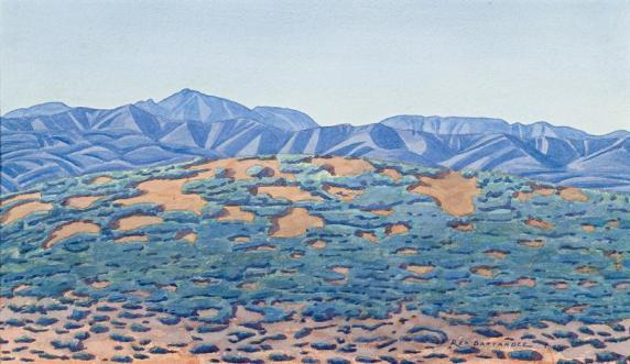 An example of Rex Battarbee's work that shows his influence on Namatjira. Central Australian Landscape, http://www.deutscherandhackett.com/node/12000135/