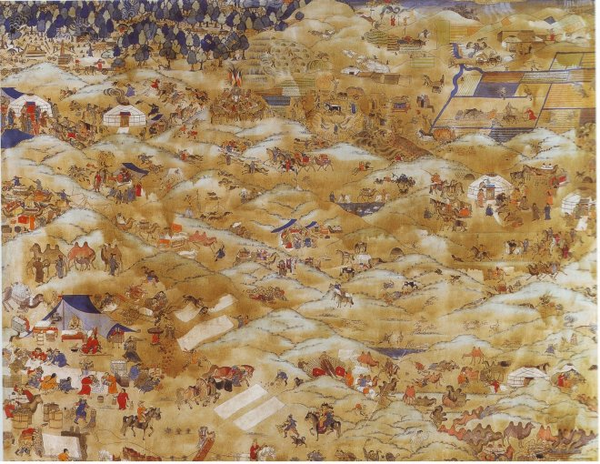 'One Day in Mongolia' by Mongolian painter Baldugiin 'Marzan' Sharav, one of the most famous paintings in Mongolia.