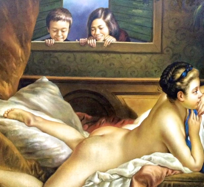 Art in Island's reimagined version of Francois Boucher's Nude on a Sofa, complete with two young boys sneaking a peek at her butt to truly emphasize that