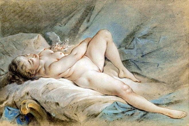 Venus playing with two doves 1777, Francois Boucher
